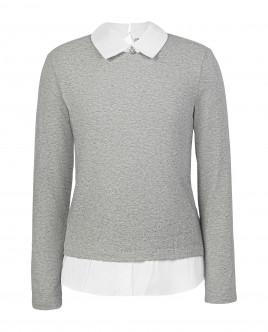 Купить 219GSGC1203, Серая футболка с имитацией многослойности, Gulliver Wear, серый, 134, Женский
