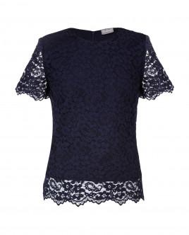 Синяя кружевная блузка
