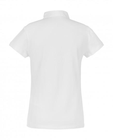 Белое поло с коротким рукавом
