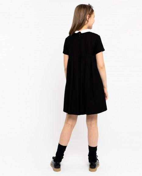 Черное платье со съемным воротничком