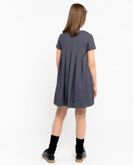 Серое платье со съемным воротничком