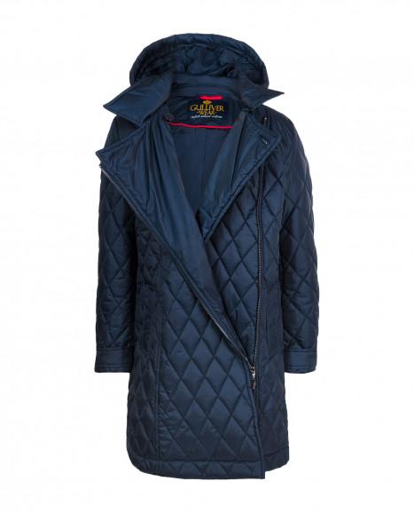 Blue mid season coat