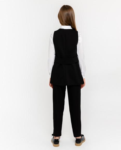 Удлиненный черный жилет