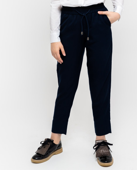 Синие брюки на резинке