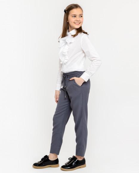 Серые брюки на резинке