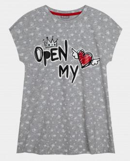Купить 22000GC9801, Серая ночная сорочка, Gulliver Wear, серый, 134-140, Женский