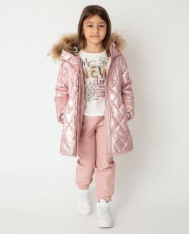 Розовое пальто зимнее Gulliver