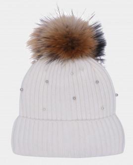 Белая шапка вязаная на подкладке Gulliver