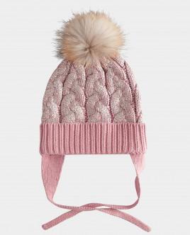 Розовая шапка вязаная на подкладке Gulliver