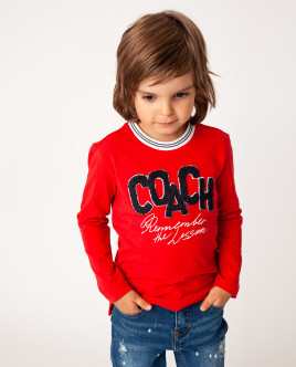 Красная футболка с длинным рукавом Gulliver Gulliver Wear 22005BMC1205 красного цвета