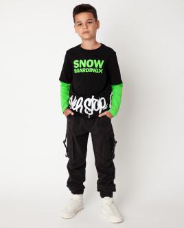Черная футболка с длинным рукавом Gulliver