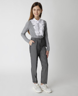 Gray frill blouse Gulliver
