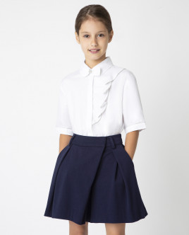 Белая блузка с коротким рукавом Gulliver Gulliver Wear 220GSGC2213 белого цвета