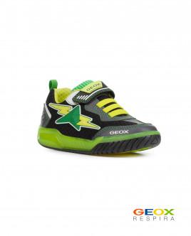Черные кроссовки Geox с салатовыми вставками