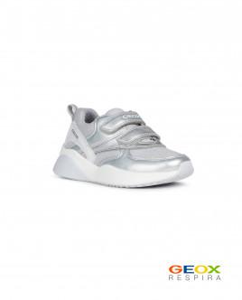 Серебристые кроссовки Geox для девочки