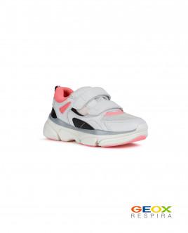 Белые кроссовки Geox с розовыми вставками