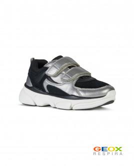 Черные кроссовки Geox с серебристыми вставками Gulliver